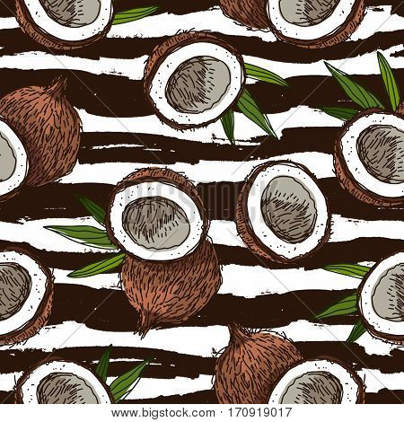 Seamless vector pattern of coconuts on a striped black and white. Paradise fruit. Summertime concept. Wrapping paper.