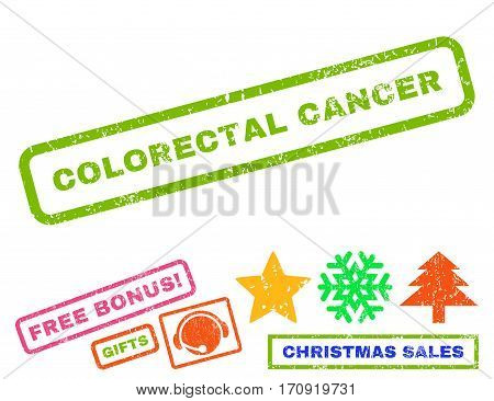 Colorectal Cancer text rubber seal stamp watermark with additional bonus new year symbols. Caption inside rectangular banner with grunge design and unclean texture.