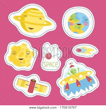 Space cartoon stickers. Smiling planets Saturn, Earth, Moon, alien in flying saucer, comet or meteor, satellites vector illustrations isolated on pink background. Counters for table games, price tags