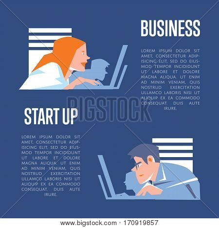 Focused young business people using laptops in office. Business start up banner, isolated vector illustration on blue background. Well organized work process. Teamwork concept. Startup realization