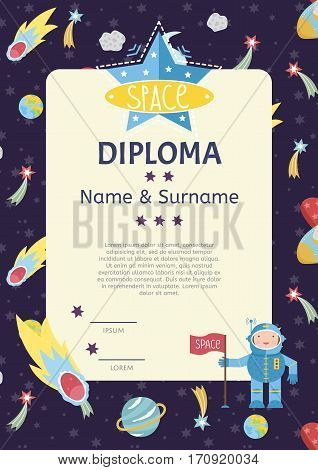 Diploma cartoon template. Spaceship, stars. planets, comets. For award for victory in scientific competition. Cartoon space diploma template.