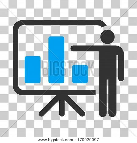 Bar Chart Presentation icon. Vector illustration style is flat iconic bicolor symbol blue and gray colors transparent background. Designed for web and software interfaces.