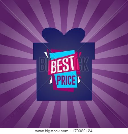 Best price sticker on box isolated vector illustration. Exclusive offer tag, price discount poster, advertisement retail label, super sale promo, special shopping symbol. Modern style offer sign.