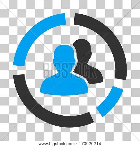 Demography Diagram icon. Vector illustration style is flat iconic bicolor symbol blue and gray colors transparent background. Designed for web and software interfaces.