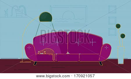 Living room witha a cat illustration violet palette