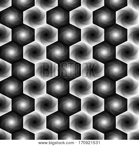 Seamless Pattern With Monochrome Hexagonal Forms