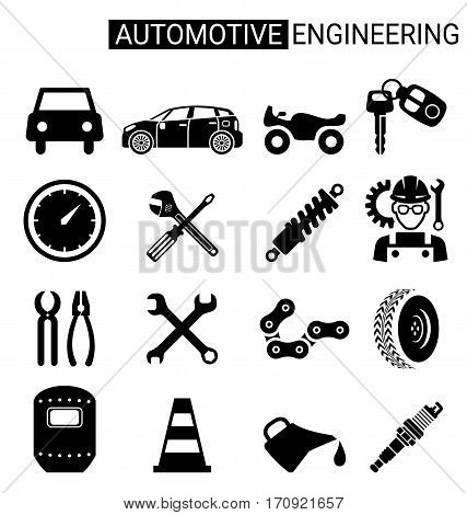 Set of automotive engineering icon design for automotive Industry