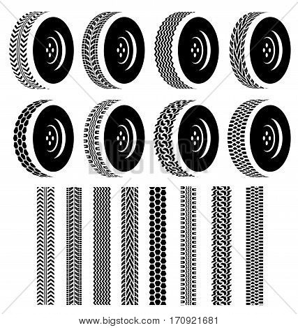 Set of Wheel with black tire tracks for Automotive Industry