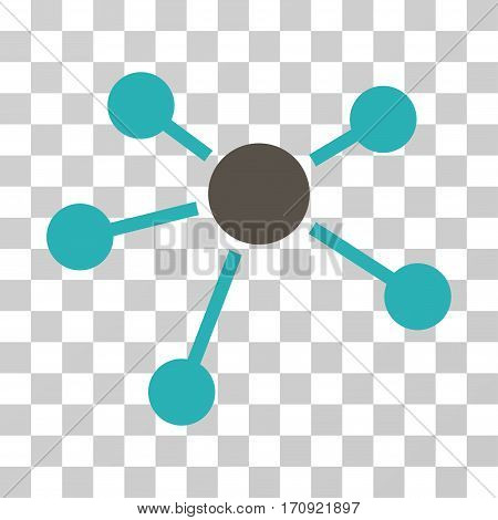 Connections icon. Vector illustration style is flat iconic bicolor symbol grey and cyan colors transparent background. Designed for web and software interfaces.