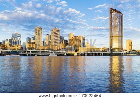 Brisbane, Australia - September 26, 2016: View of skyscrapers in Brisbane at sunset