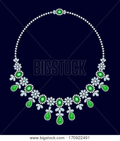 Necklace with diamonds and emerald teardrop-shaped pendants