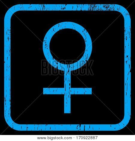 Venus Female Symbol rubber watermark. Vector icon symbol inside rounded rectangular frame with grunge design and scratched texture. Stamp seal illustration.
