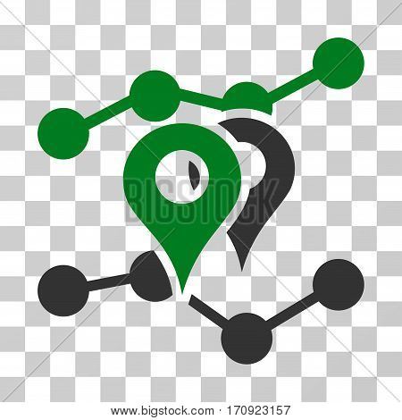 Geo Trends icon. Vector illustration style is flat iconic bicolor symbol green and gray colors transparent background. Designed for web and software interfaces.