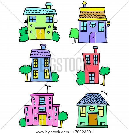 House set collection stock colorful vector art