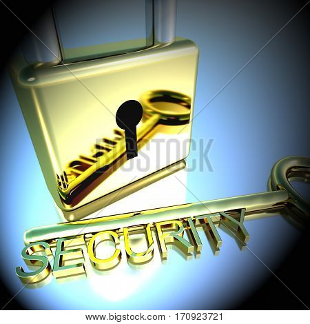 Padlock With Security Key Showing Protection Encryption 3D Rendering
