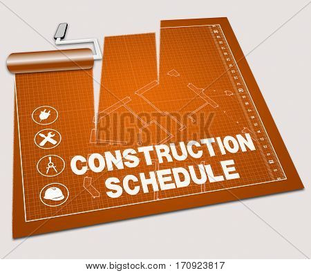 Construction Schedule Shows Building Timetable 3D Illustration