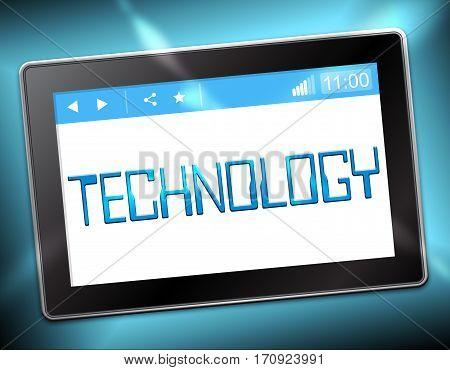 Technology Tablet Represents High Tech 3D Illustration
