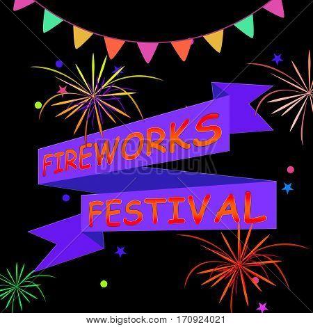 Fireworks Festival Shows Pyrotechnics Display 3D Illustration