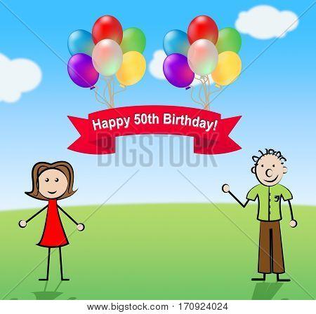 Happy Fiftieth Birthday Party Celebration 3D Illustration
