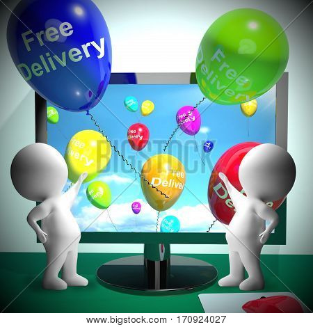 Free Delivery Balloons From Computer 3D Rendering