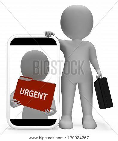 Urgent Folder Representing Deadline Urgency 3D Rendering