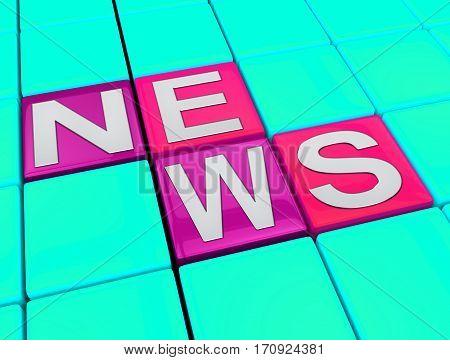 News Blocks Displays Reporting Media 3D Illustration