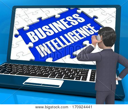 Business Intelligence On Laptop Showing Collecting Information 3D Rendering