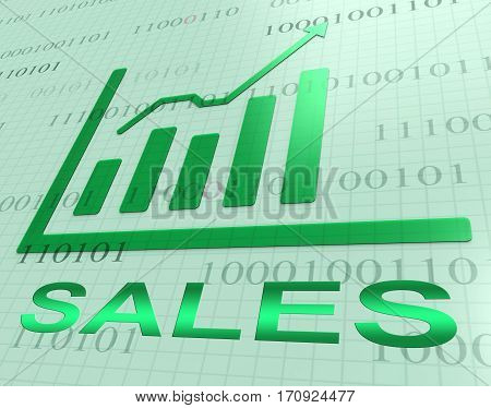 Sales Graph Increase Shows Retail Selling 3D Rendering