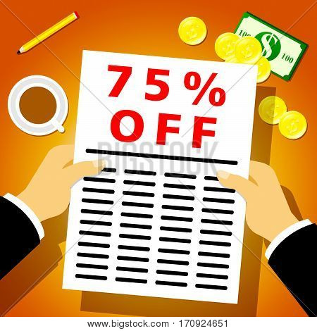 Seventy Five Percent Off Shows 25% Discount 3D Illustration