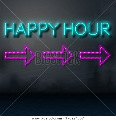 Happy Hour Sign Shows Discount Beer Time
