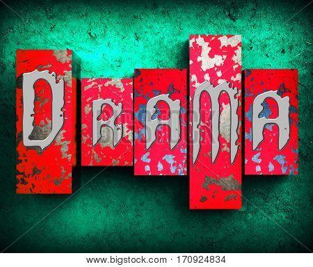 Drama Blocks Displays Dramatic Theater 3D Illustration