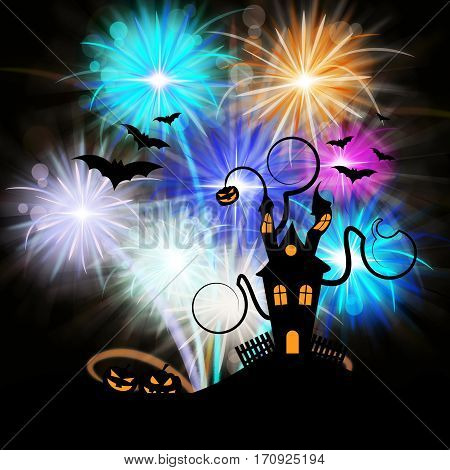 Haunted House And Fireworks Shows Halloween Celebration