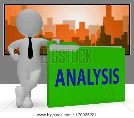 Analysis Folder Indicates Data Analytics 3D Rendering
