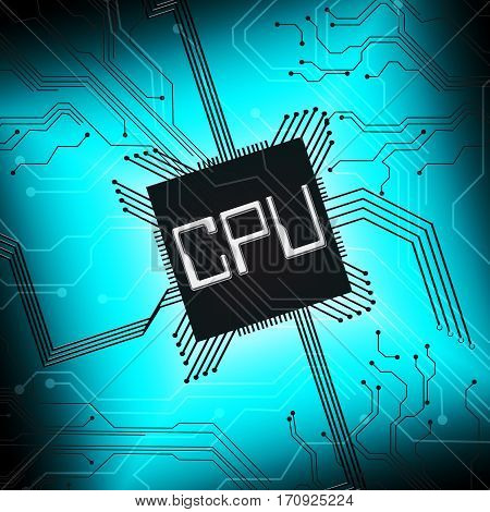 Cpu Microprocesssor Shows Digital Microchip 3D Illustration