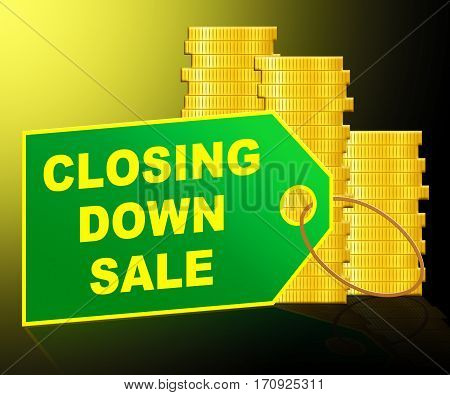 Closing Down Sale Showing Store Bankrupt 3D Illustration