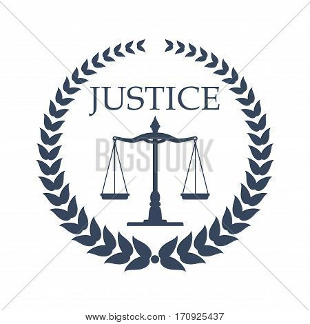 Law firm, lawyer or law office symbol. Scales of justice, framed by heraldic laurel wreath. Lawyer card, law firm logo, legal center emblem design