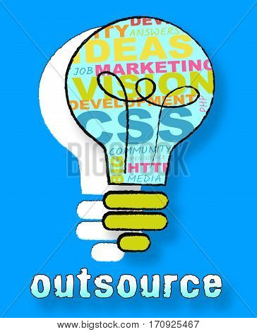 Outsource Lightbulb Shows Subcontracting Freelancers 3D Illustration