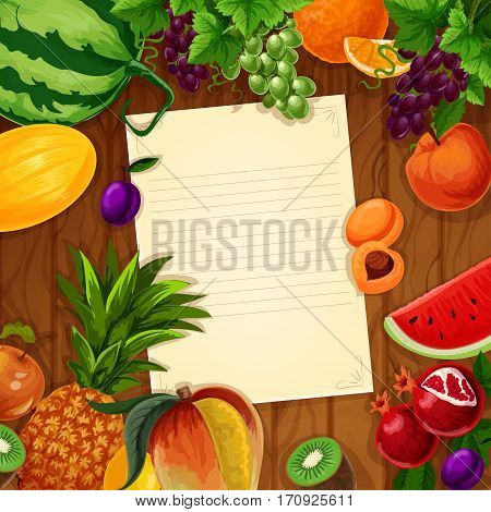 Fruits with blank paper on wooden background. Fresh apple, orange, peach, grape, mango, plum, pineapple, watermelon, kiwi, melon, pomegranate and apricot with copy space for recipe or menu design