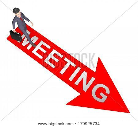 Meetings Arrow Means Talk Discussion 3D Rendering