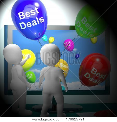 Best Deals Balloons Represent Bargains 3D Rendering