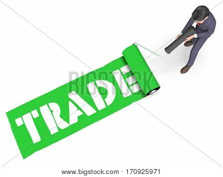 Trade Paint Represents Selling And Business 3D Rendering