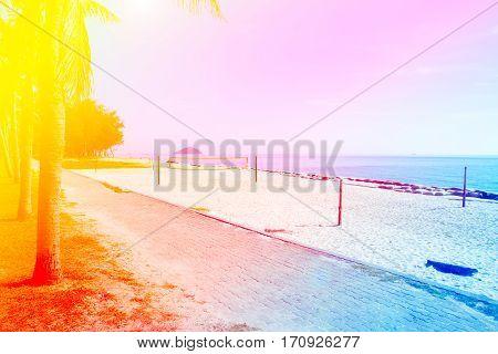 Beach a volleyball court at beatiful sand beach. Summer.