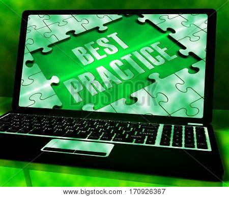 Best Practice On Laptop Showing Practices 3D Rendering