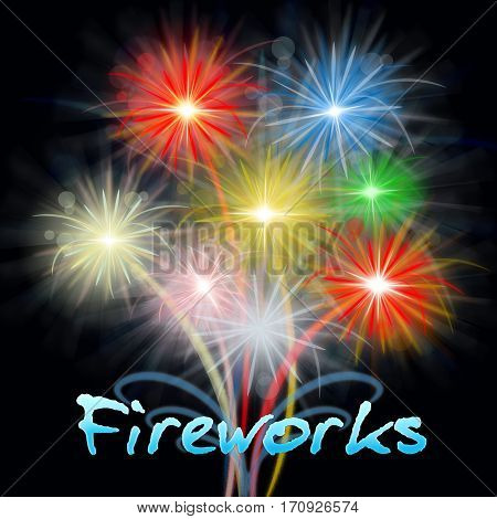 Fireworks Display Showing Pyrotechnics And Explosive Celebration