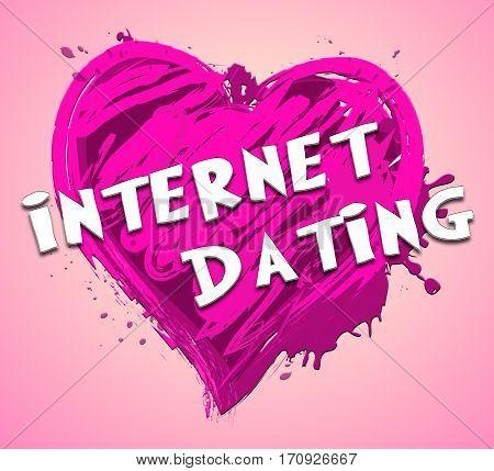 Internet Dating Representing Find Love 3D Illustration