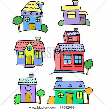 Vector art of house set doodles collection stock