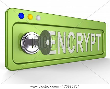 Encrypt Key Showing Protection Encryption 3D Illustration