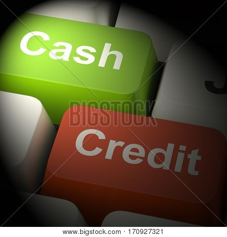 Cash And Credit Keys Showing Consumer Purchases 3D Rendering