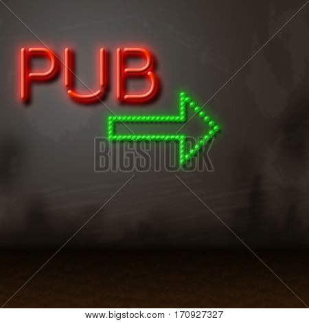 Pub Neon Sign Locates Bar Tavern Or Nightlife