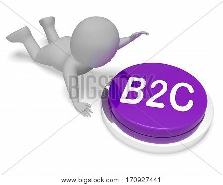 B2C Button Meaning Business To Customer 3D Rendering